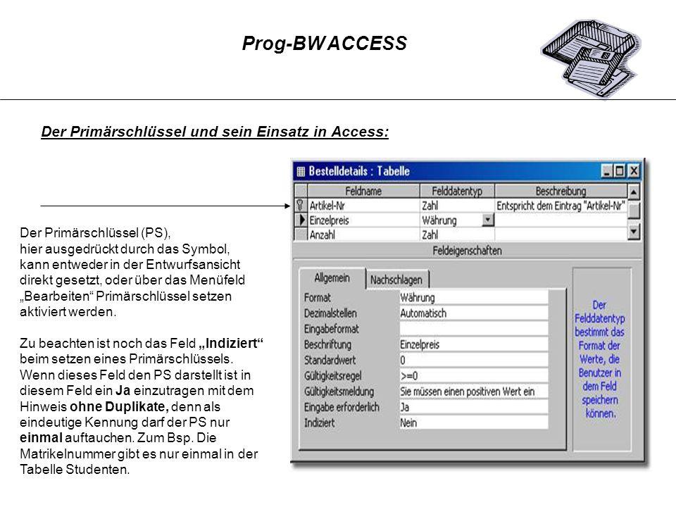 Der Primärschlüssel und sein Einsatz in Access: Der Primärschlüssel (PS), hier ausgedrückt durch das Symbol, kann entweder in der Entwurfsansicht dire