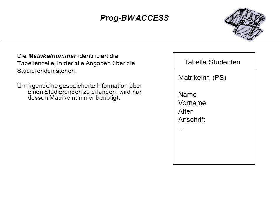 Die Matrikelnummer identifiziert die Tabellenzeile, in der alle Angaben über die Studierenden stehen. Um irgendeine gespeicherte Information über eine