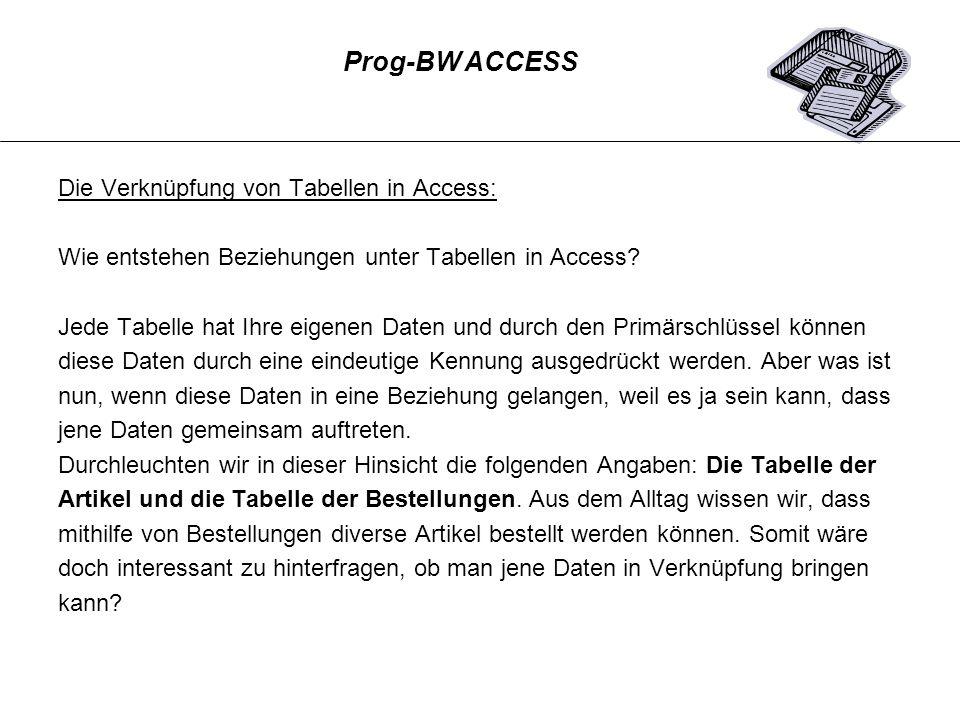 Die Verknüpfung von Tabellen in Access: Wie entstehen Beziehungen unter Tabellen in Access? Jede Tabelle hat Ihre eigenen Daten und durch den Primärsc