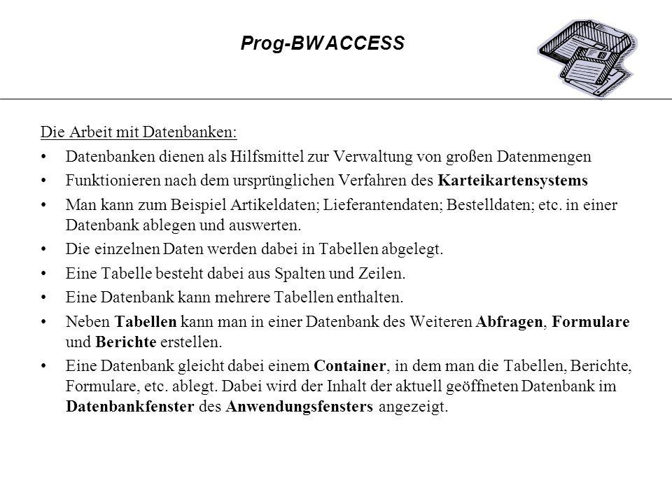 Der Ablauf des Berichtsassistenten in den einzelnen Schritten: Prog-BW ACCESS