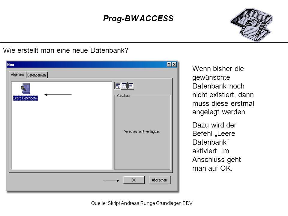 Schritt 1: Aus der Objektsymbolleiste wählt man das Menüfeld Berichte und über den Befehl Neu ruft Access ein weiteres Fenster auf.