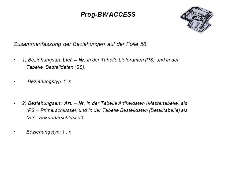 Zusammenfassung der Beziehungen auf der Folie 58: 1) Beziehungsart: Lief. – Nr. in der Tabelle Lieferanten (PS) und in der Tabelle Bestelldaten (SS).