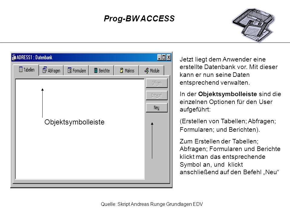 Das DATENBANKFENSTER wird angezeigt, sobald eine Datenbank geöffnet oder neu erstellt wird.