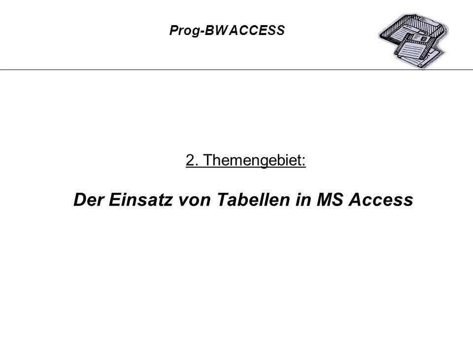 2. Themengebiet: Der Einsatz von Tabellen in MS Access Prog-BW ACCESS