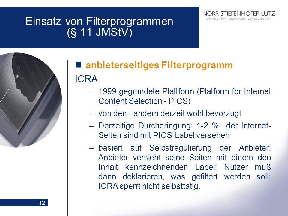 12 Einsatz von Filterprogrammen (§ 11 JMStV) anbieterseitiges Filterprogramm ICRA –1999 gegründete Plattform (Platform for Internet Content Selection