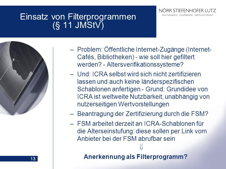 13 Einsatz von Filterprogrammen (§ 11 JMStV) –Problem: Öffentliche Internet-Zugänge (Internet- Cafés, Bibliotheken) - wie soll hier gefiltert werden?
