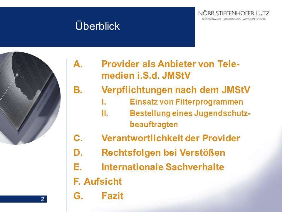 2 Überblick A.Provider als Anbieter von Tele- medien i.S.d. JMStV B.Verpflichtungen nach dem JMStV I.Einsatz von Filterprogrammen II.Bestellung eines