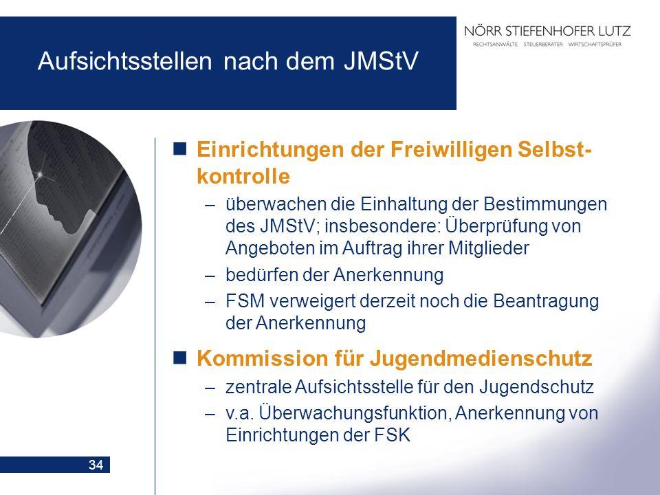 34 Aufsichtsstellen nach dem JMStV Einrichtungen der Freiwilligen Selbst- kontrolle –überwachen die Einhaltung der Bestimmungen des JMStV; insbesonder