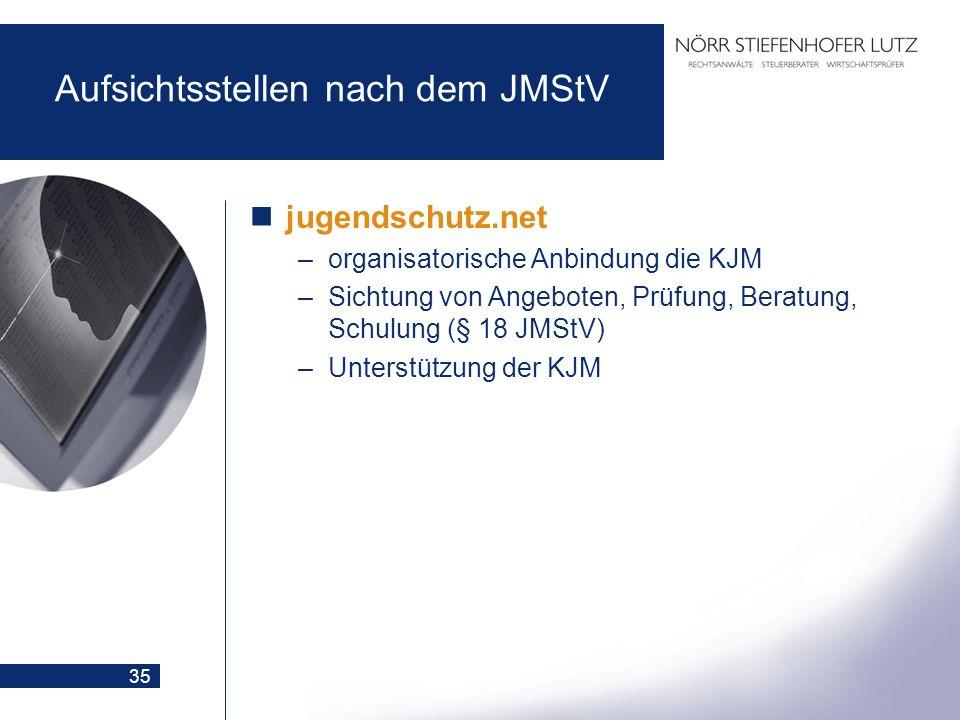 35 Aufsichtsstellen nach dem JMStV jugendschutz.net –organisatorische Anbindung die KJM –Sichtung von Angeboten, Prüfung, Beratung, Schulung (§ 18 JMS