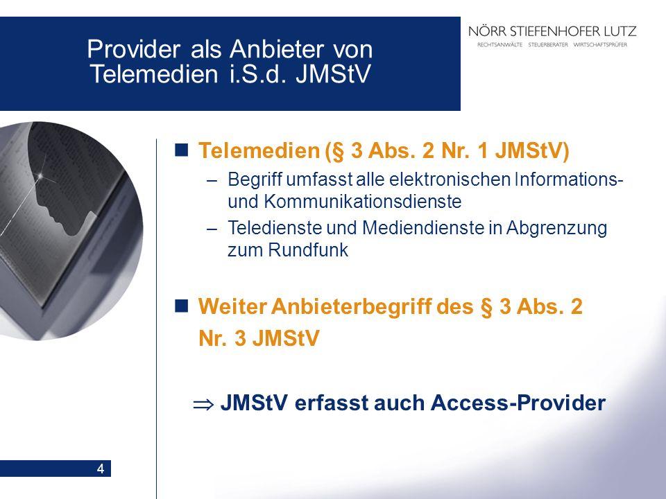 4 Provider als Anbieter von Telemedien i.S.d. JMStV Telemedien (§ 3 Abs. 2 Nr. 1 JMStV) –Begriff umfasst alle elektronischen Informations- und Kommuni