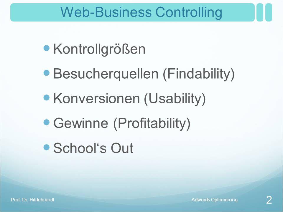 Web-Business Controlling Wie wird die Rentabilität im Web-Business überprüft? Web-Business ControllingProf. Dr. Hildebrandt 1