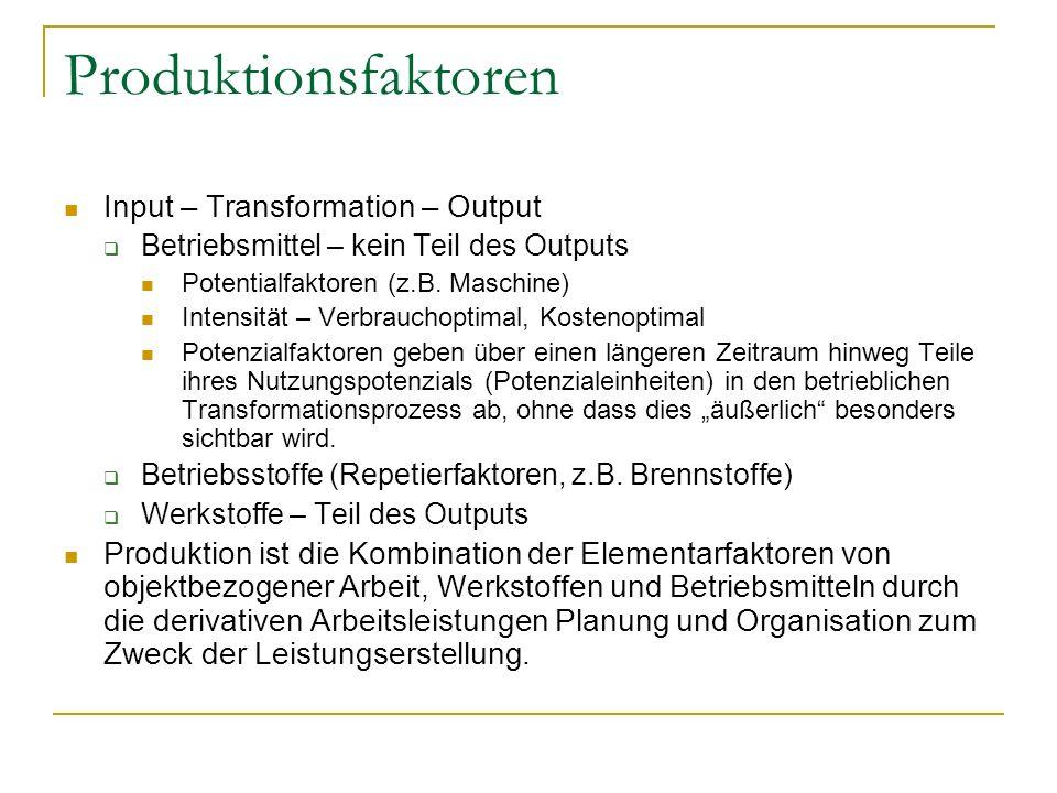 Produktionsfaktoren Input – Transformation – Output Betriebsmittel – kein Teil des Outputs Potentialfaktoren (z.B. Maschine) Intensität – Verbrauchopt