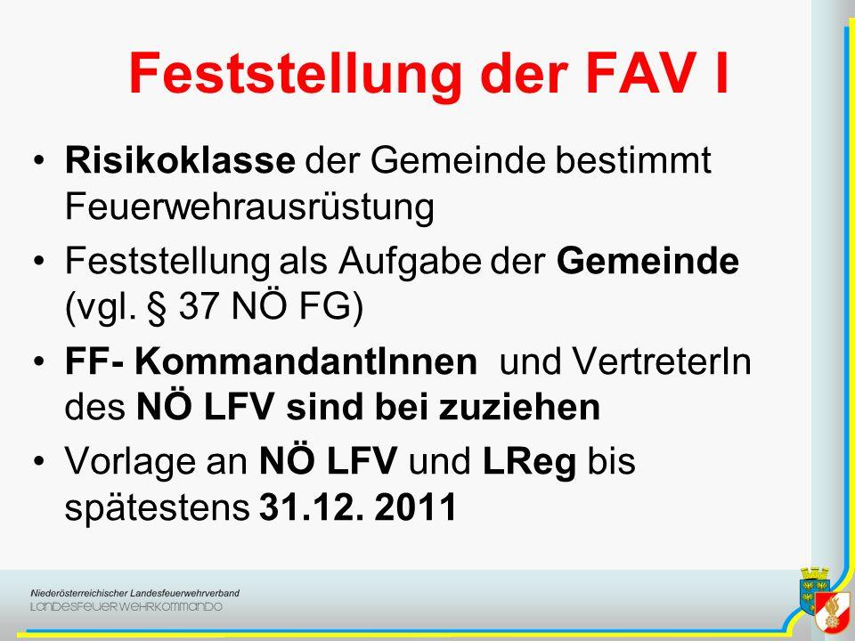 Feststellung der FAV I Risikoklasse der Gemeinde bestimmt Feuerwehrausrüstung Feststellung als Aufgabe der Gemeinde (vgl. § 37 NÖ FG) FF- KommandantIn
