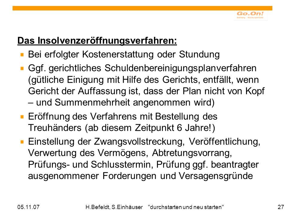 05.11.07H.Befeldt, S.Einhäuser durchstarten und neu starten 27 Das Insolvenzeröffnungsverfahren: Bei erfolgter Kostenerstattung oder Stundung Ggf.