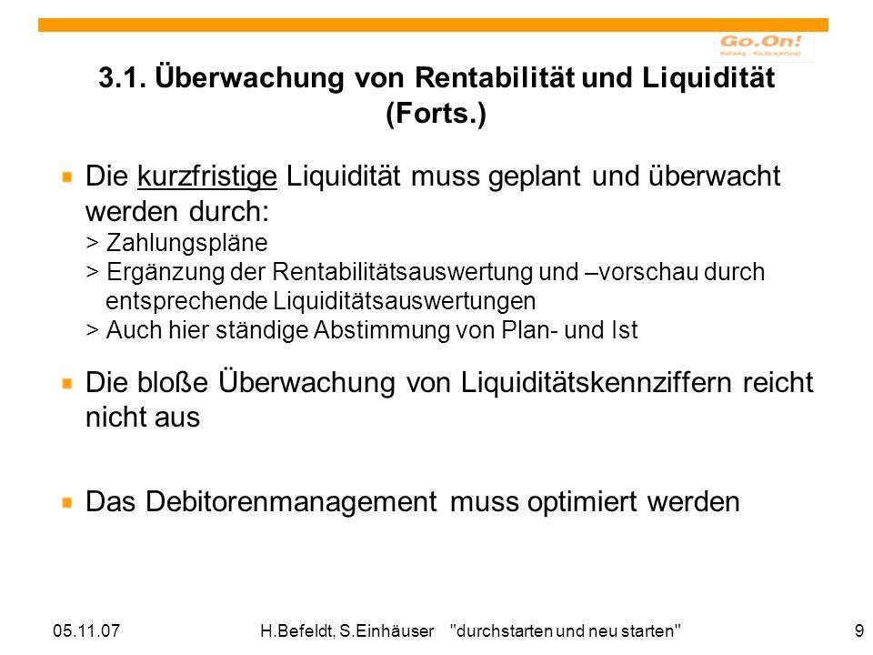 05.11.07H.Befeldt, S.Einhäuser durchstarten und neu starten 9 3.1.