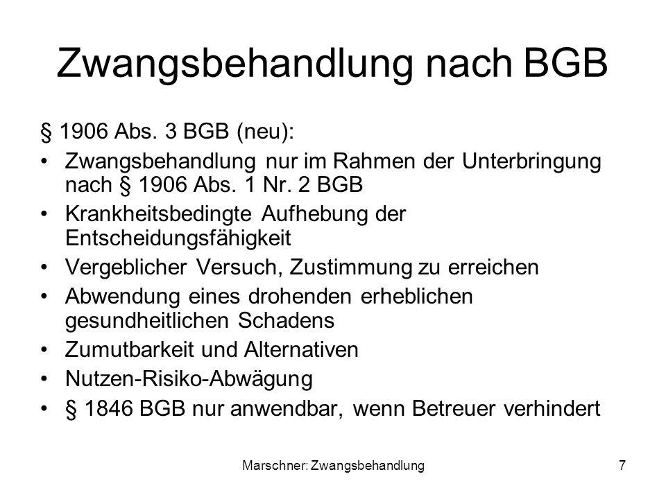 Zwangsbehandlung nach BGB § 1906 Abs.