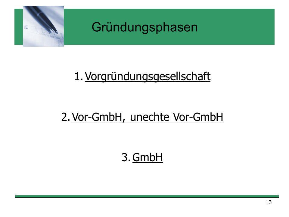 13 Gründungsphasen 1.Vorgründungsgesellschaft 2.Vor-GmbH, unechte Vor-GmbH 3.GmbH