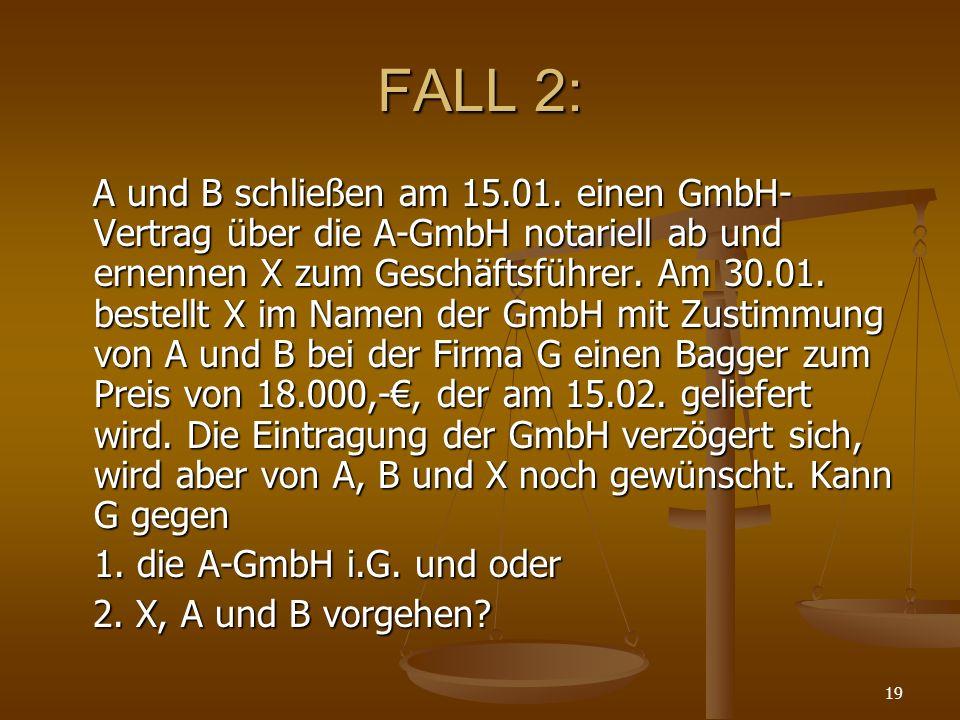 19 FALL 2: A und B schließen am 15.01. einen GmbH- Vertrag über die A-GmbH notariell ab und ernennen X zum Geschäftsführer. Am 30.01. bestellt X im Na