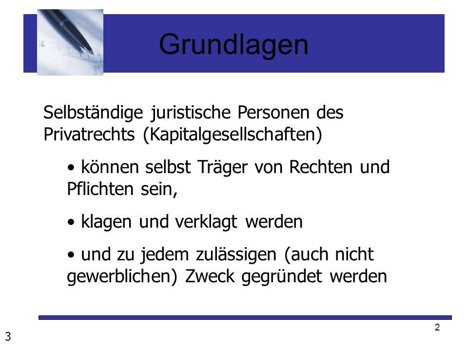 2 Grundlagen Selbständige juristische Personen des Privatrechts (Kapitalgesellschaften) können selbst Träger von Rechten und Pflichten sein, klagen un