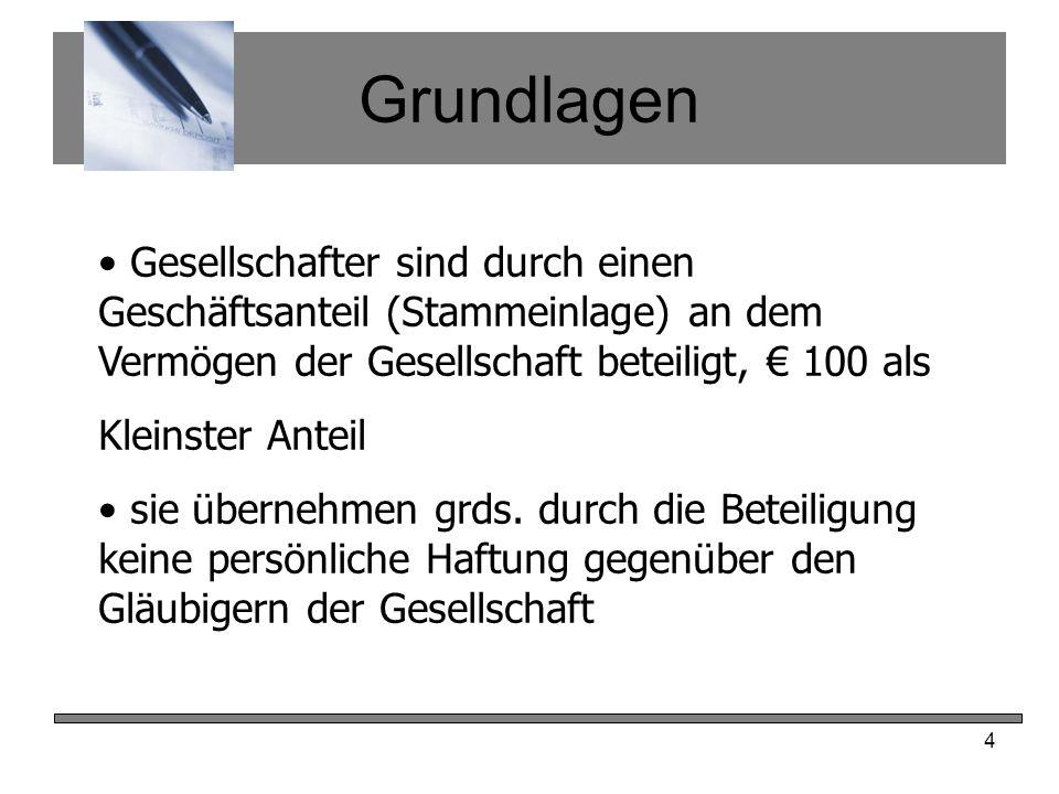 5 Grundlagen GmbH hat als notwendiges Organ mindestens einen Geschäftsführer dieser ist gem.