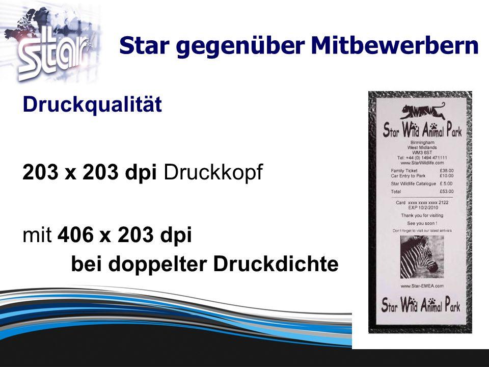 Druckqualität 203 x 203 dpi Druckkopf mit 406 x 203 dpi bei doppelter Druckdichte Star gegenüber Mitbewerbern