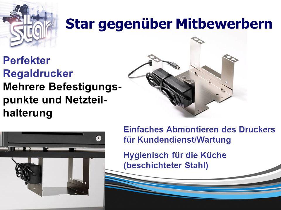 Perfekter Regaldrucker Mehrere Befestigungs- punkte und Netzteil- halterung Einfaches Abmontieren des Druckers für Kundendienst/Wartung Hygienisch für die Küche (beschichteter Stahl) Star gegenüber Mitbewerbern