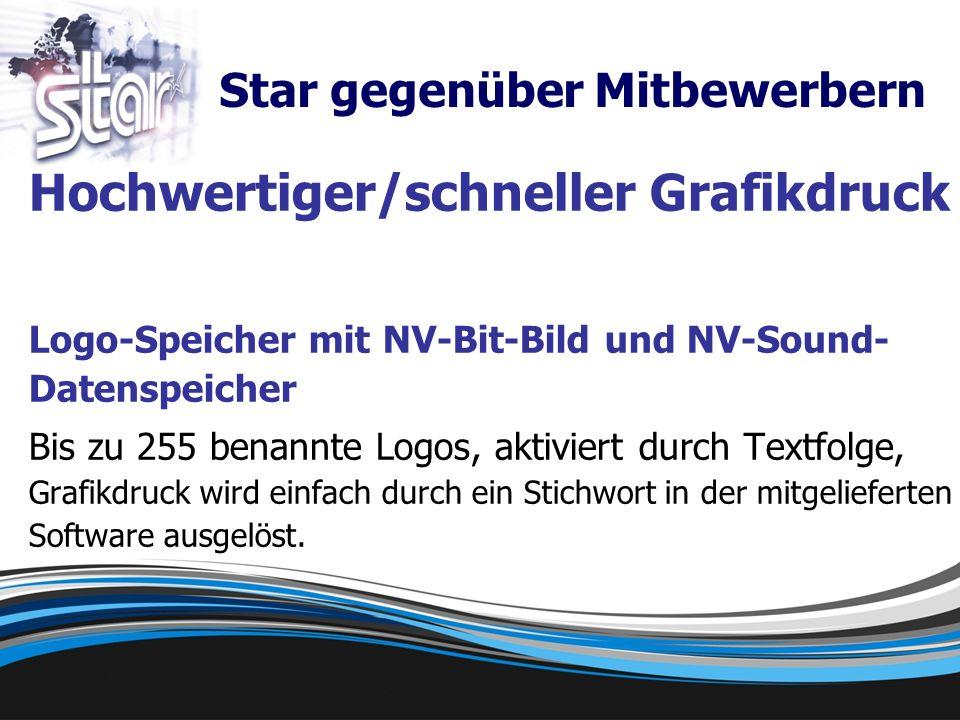 Hochwertiger/schneller Grafikdruck Logo-Speicher mit NV-Bit-Bild und NV-Sound- Datenspeicher Bis zu 255 benannte Logos, aktiviert durch Textfolge, Grafikdruck wird einfach durch ein Stichwort in der mitgelieferten Software ausgelöst.