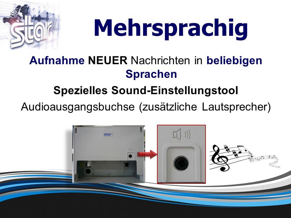 Mehrsprachig Aufnahme NEUER Nachrichten in beliebigen Sprachen Spezielles Sound-Einstellungstool Audioausgangsbuchse (zusätzliche Lautsprecher)