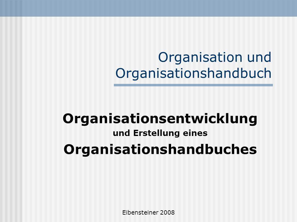 Eibensteiner 2008 Organisation und Organisationshandbuch Organisationsentwicklung und Erstellung eines Organisationshandbuches