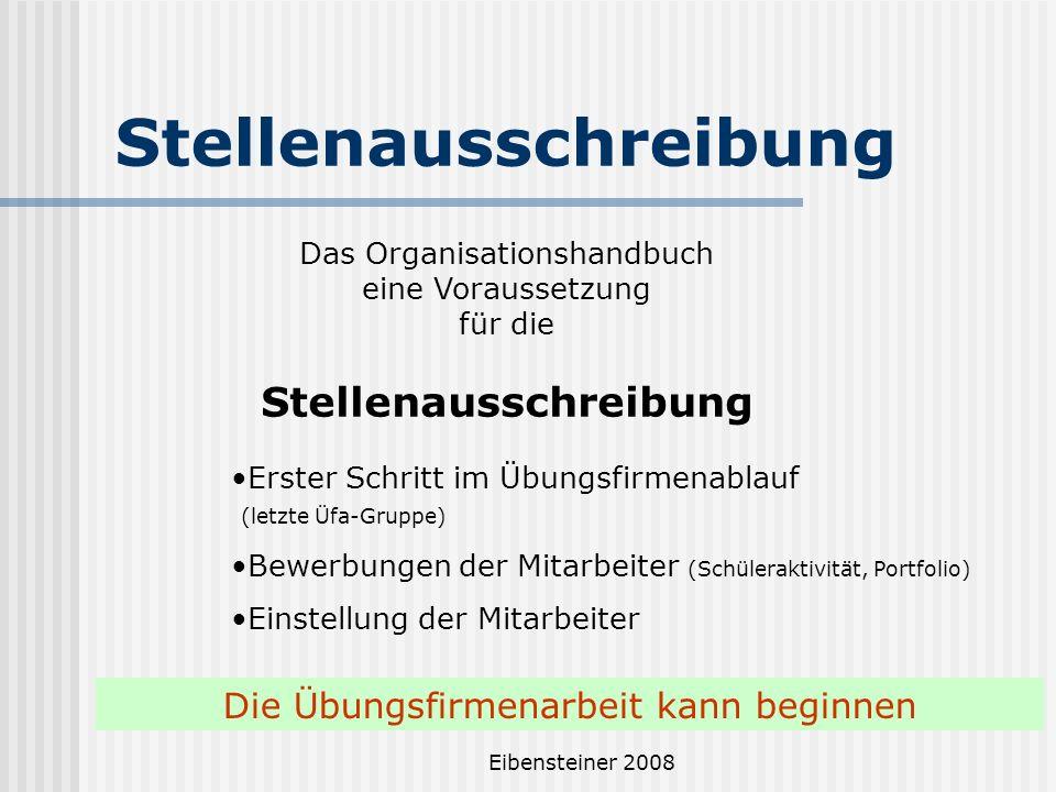 Eibensteiner 2008 Stellenausschreibung Das Organisationshandbuch eine Voraussetzung für die Stellenausschreibung Erster Schritt im Übungsfirmenablauf