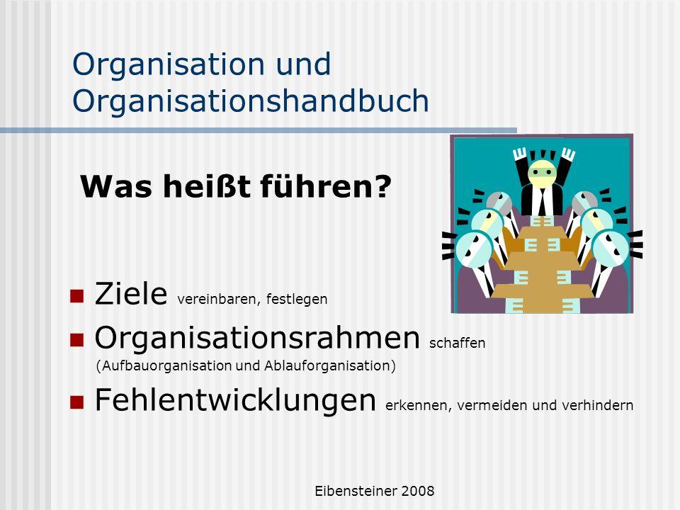 Eibensteiner 2008 Organisation und Organisationshandbuch Ziele vereinbaren, festlegen Organisationsrahmen schaffen (Aufbauorganisation und Ablauforgan