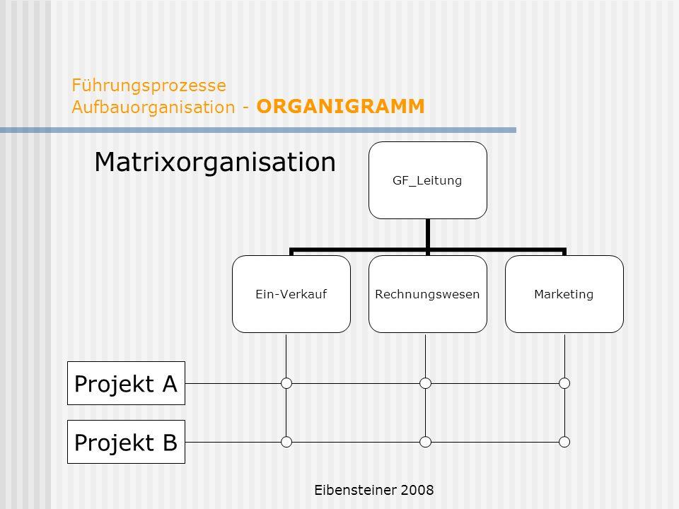 Eibensteiner 2008 Führungsprozesse Aufbauorganisation - ORGANIGRAMM Matrixorganisation GF_Leitung Ein-VerkaufRechnungswesenMarketing Projekt A Projekt
