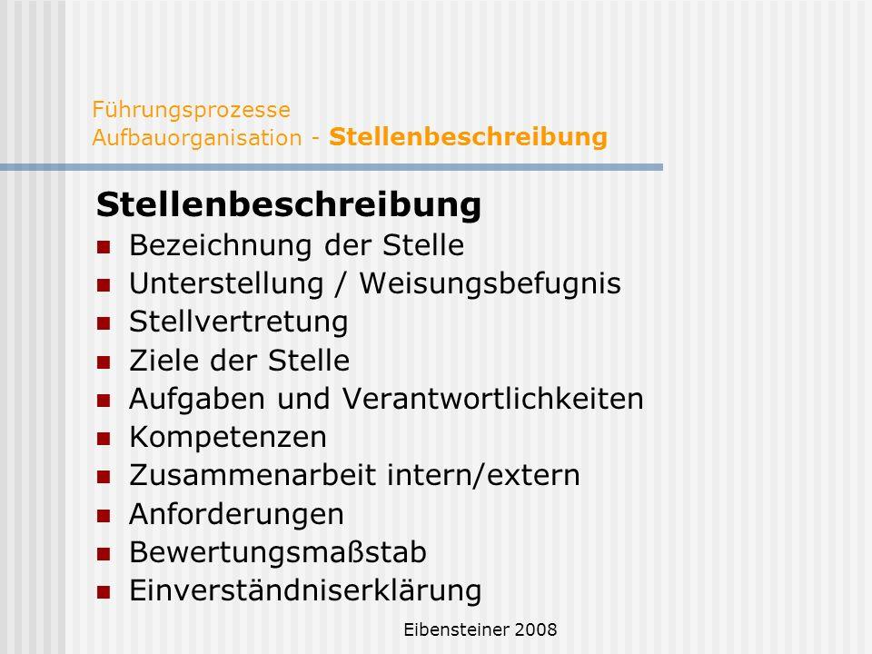 Eibensteiner 2008 Führungsprozesse Aufbauorganisation - Stellenbeschreibung Stellenbeschreibung Bezeichnung der Stelle Unterstellung / Weisungsbefugni