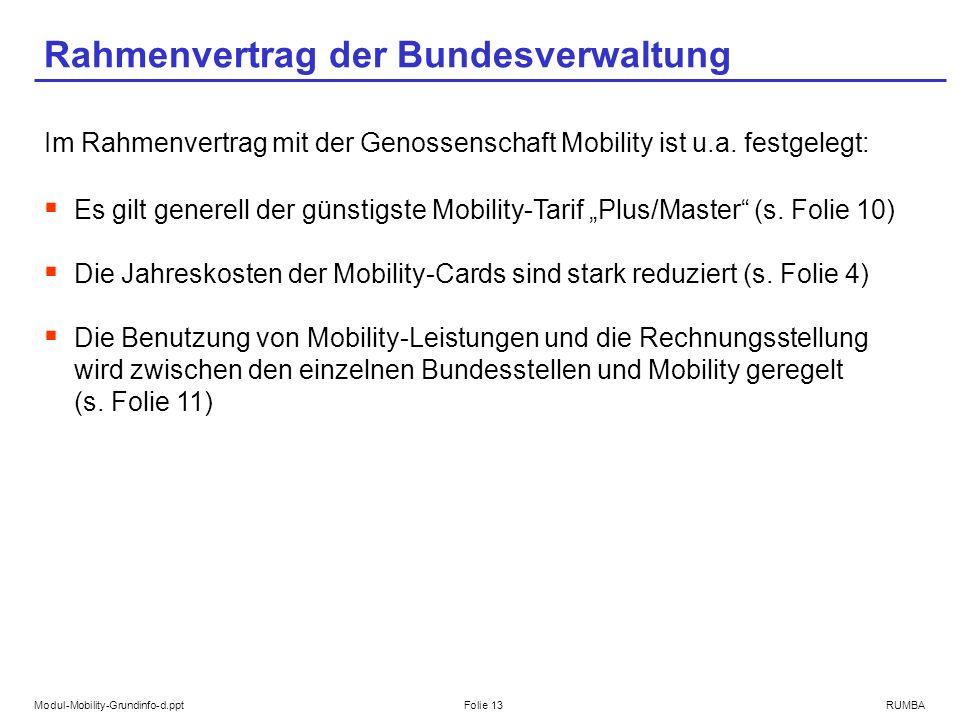 Modul-Mobility-Grundinfo-d.pptFolie 13RUMBA Rahmenvertrag der Bundesverwaltung Im Rahmenvertrag mit der Genossenschaft Mobility ist u.a. festgelegt: E