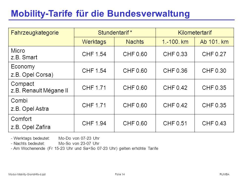 Modul-Mobility-Grundinfo-d.pptFolie 14RUMBA Mobility-Tarife für die Bundesverwaltung Fahrzeugkategorie Stundentarif *Kilometertarif WerktagsNachts1.-100.