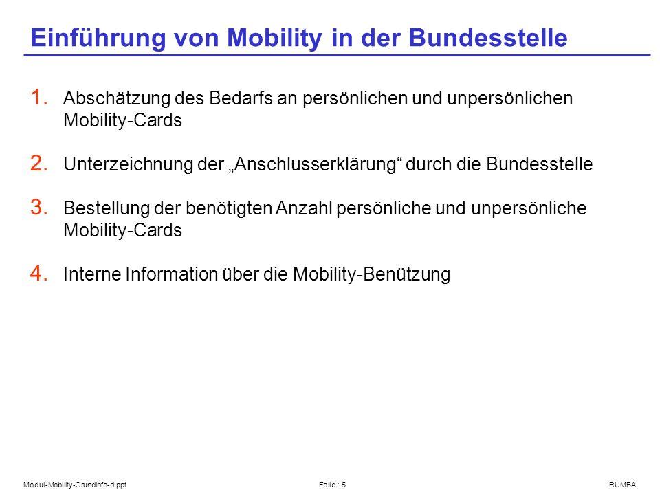 Modul-Mobility-Grundinfo-d.pptFolie 15RUMBA Einführung von Mobility in der Bundesstelle 1. Abschätzung des Bedarfs an persönlichen und unpersönlichen
