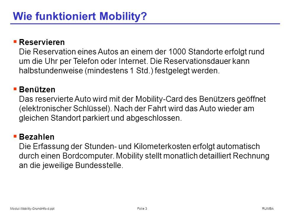 Modul-Mobility-Grundinfo-d.pptFolie 3RUMBA Wie funktioniert Mobility? Reservieren Die Reservation eines Autos an einem der 1000 Standorte erfolgt rund