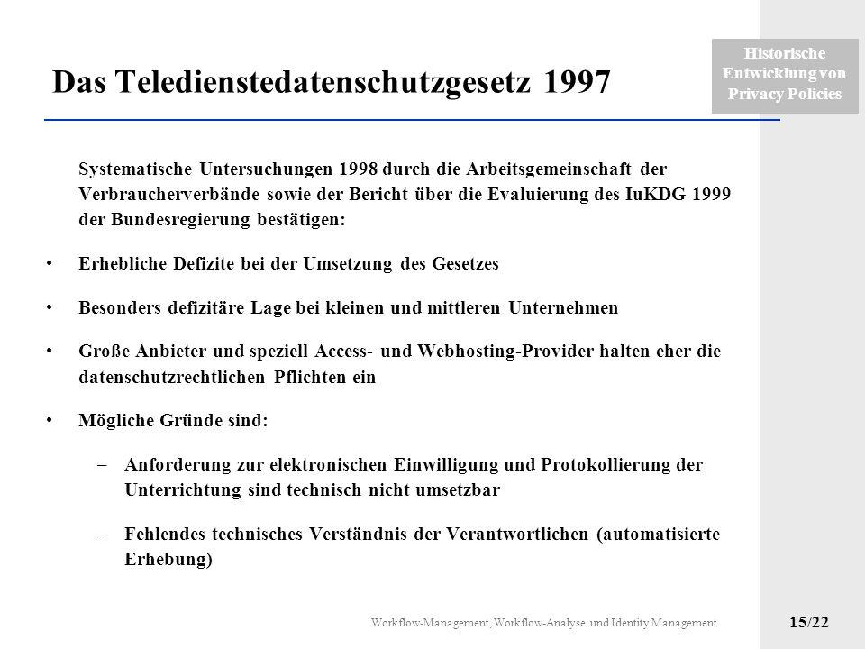 Historische Entwicklung von Privacy Policies Workflow-Management, Workflow-Analyse und Identity Management 14/22 Das Teledienstedatenschutzgesetz 1997