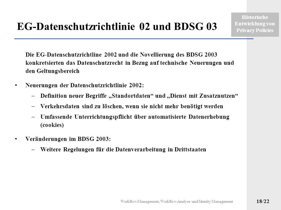 Historische Entwicklung von Privacy Policies Workflow-Management, Workflow-Analyse und Identity Management 17/22 Novellierungen BDSG 2001 und TDDSG 20
