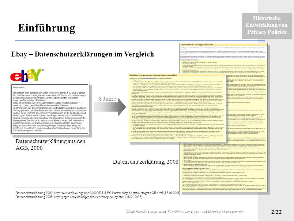 Historische Entwicklung von Privacy Policies Workflow-Management, Workflow-Analyse und Identity Management 1/22 1.Einführung 2.Datenschutzrechliche En