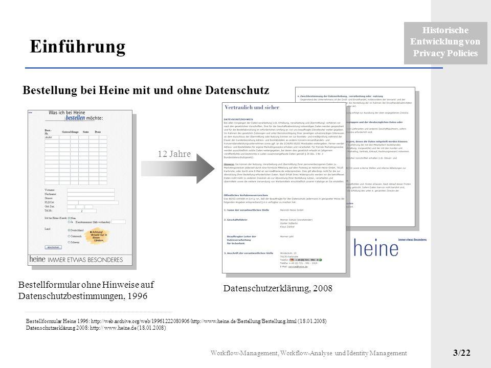 Historische Entwicklung von Privacy Policies Workflow-Management, Workflow-Analyse und Identity Management 2/22 Einführung Datenschutzerklärung 2000: