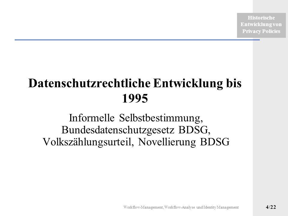 Historische Entwicklung von Privacy Policies Workflow-Management, Workflow-Analyse und Identity Management 3/22 Einführung Bestellung bei Heine mit un