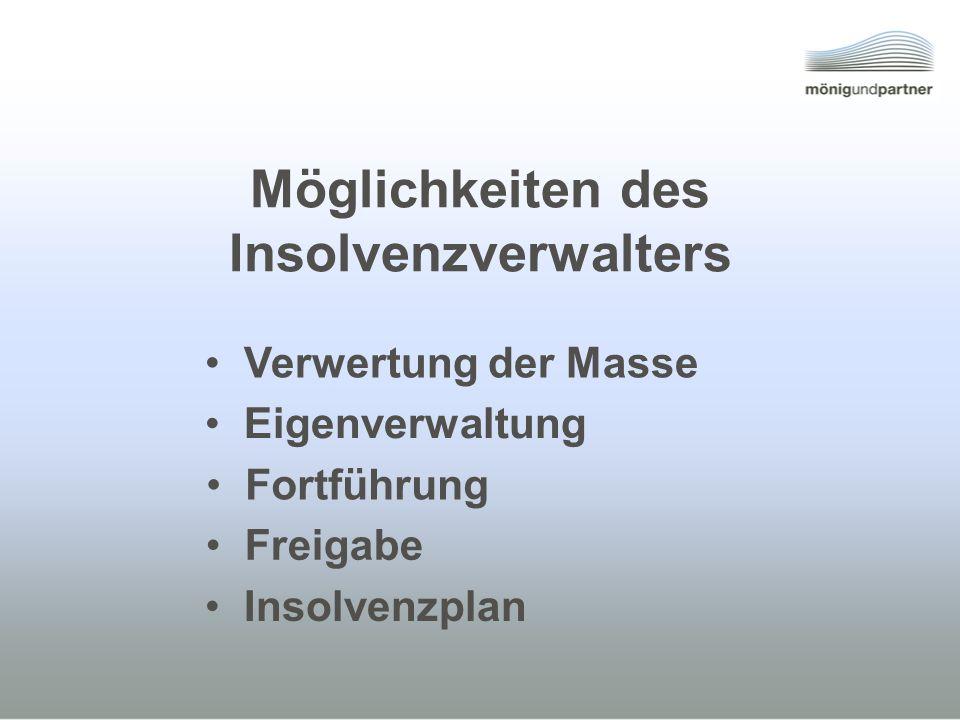 Möglichkeiten des Insolvenzverwalters Insolvenzplan Freigabe Fortführung Eigenverwaltung Verwertung der Masse