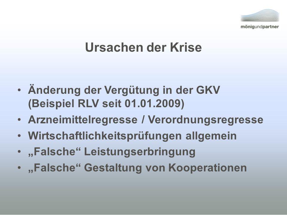 Ursachen der Krise Änderung der Vergütung in der GKV (Beispiel RLV seit 01.01.2009) Arzneimittelregresse / Verordnungsregresse Wirtschaftlichkeitsprüfungen allgemein Falsche Leistungserbringung Falsche Gestaltung von Kooperationen