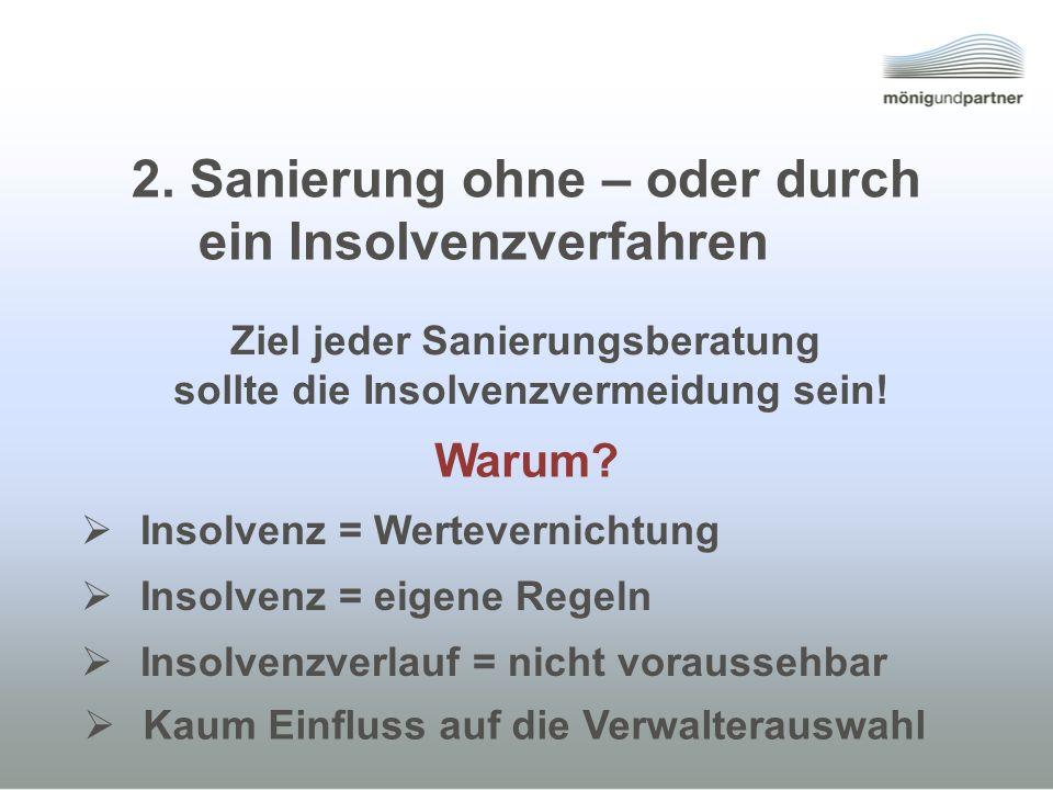 Insolvenz = Wertevernichtung Insolvenz = eigene Regeln Insolvenzverlauf = nicht voraussehbar Ziel jeder Sanierungsberatung sollte die Insolvenzvermeidung sein.