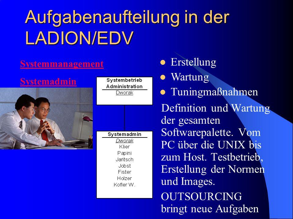 Aufgabenaufteilung in der LADION/EDV Definition und Wartung der gesamten Softwarepalette. Vom PC über die UNIX bis zum Host. Testbetrieb, Erstellung d