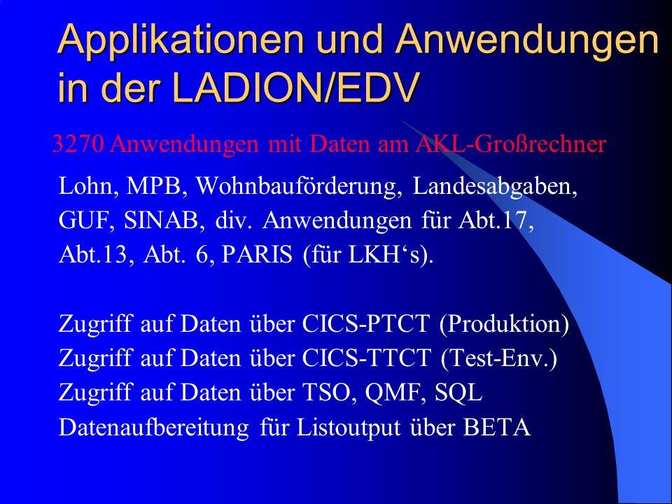 Applikationen und Anwendungen in der LADION/EDV Lohn, MPB, Wohnbauförderung, Landesabgaben, GUF, SINAB, div. Anwendungen für Abt.17, Abt.13, Abt. 6, P