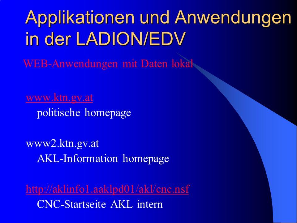 Applikationen und Anwendungen in der LADION/EDV www.ktn.gv.at politische homepage www2.ktn.gv.at AKL-Information homepage http://aklinfo1.aaklpd01/akl/cnc.nsf CNC-Startseite AKL intern WEB-Anwendungen mit Daten lokal