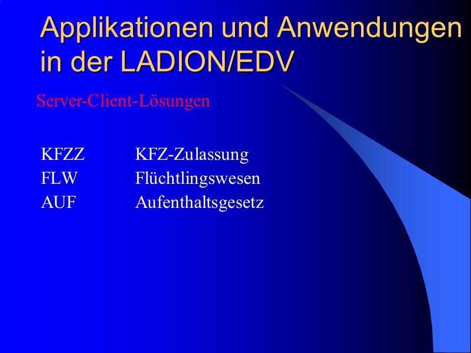 Applikationen und Anwendungen in der LADION/EDV KFZZKFZ-Zulassung FLWFlüchtlingswesen AUFAufenthaltsgesetz Server-Client-Lösungen