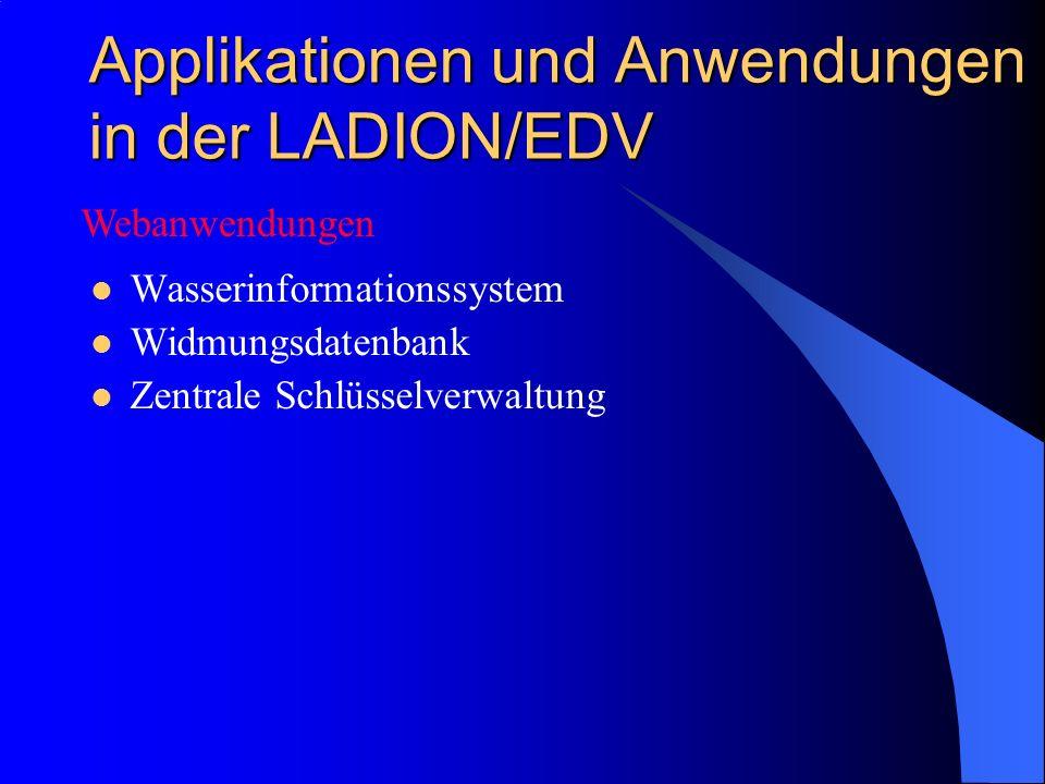 Applikationen und Anwendungen in der LADION/EDV Wasserinformationssystem Widmungsdatenbank Zentrale Schlüsselverwaltung Webanwendungen